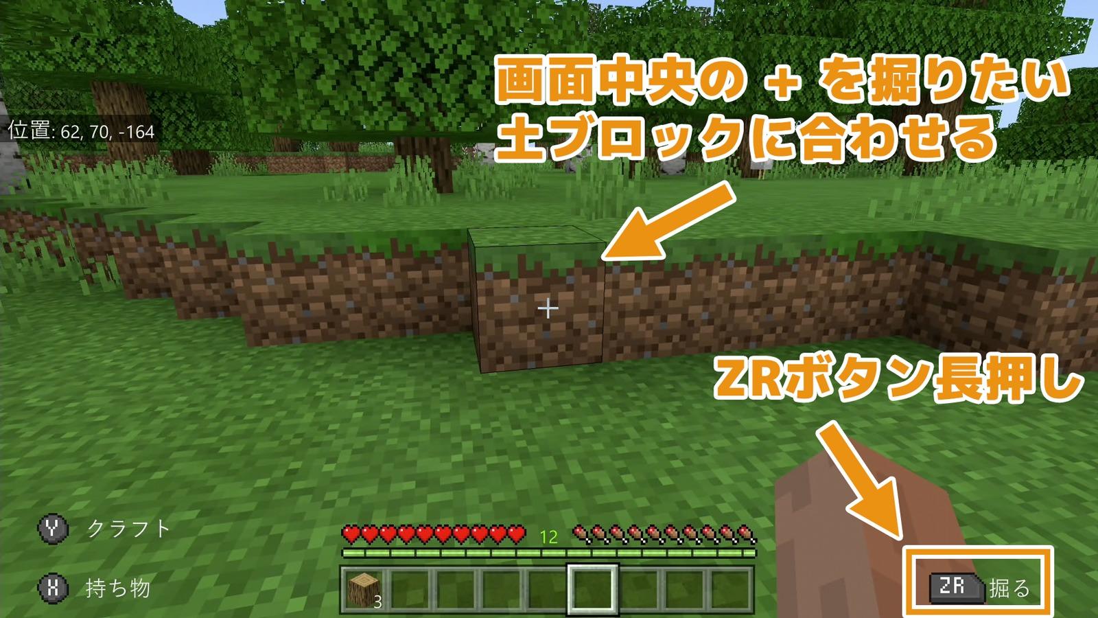土ブロックをZR長押しすると土が掘れる