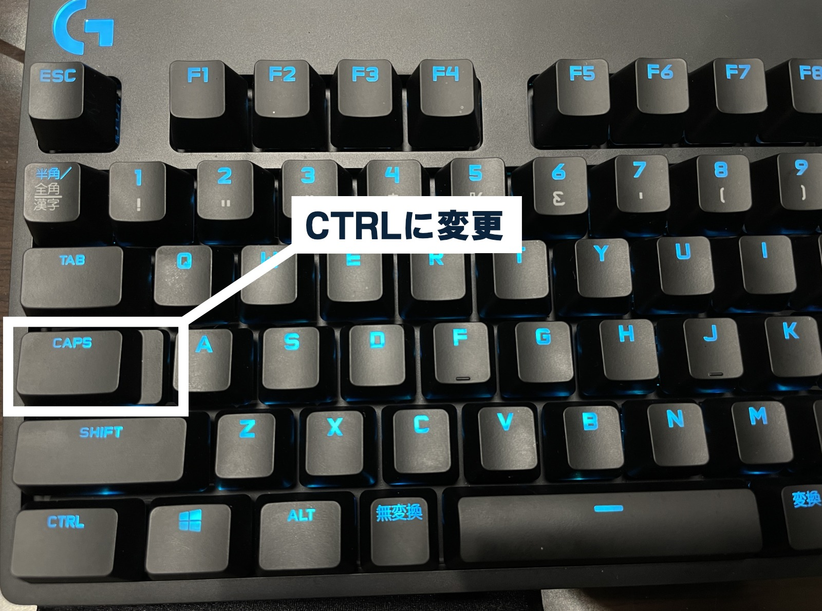 キーボードのcaps lock をctrl に変更して使っている
